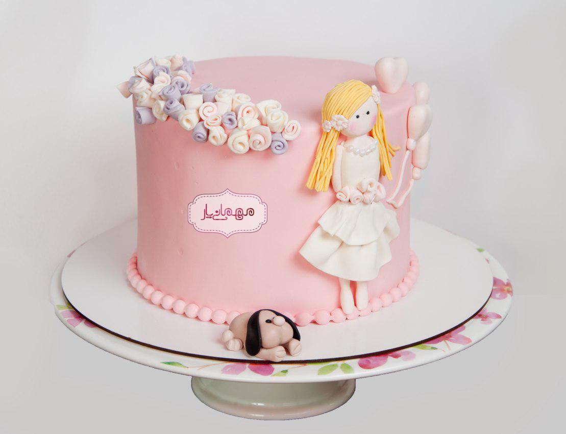کیک دختر موطلایی