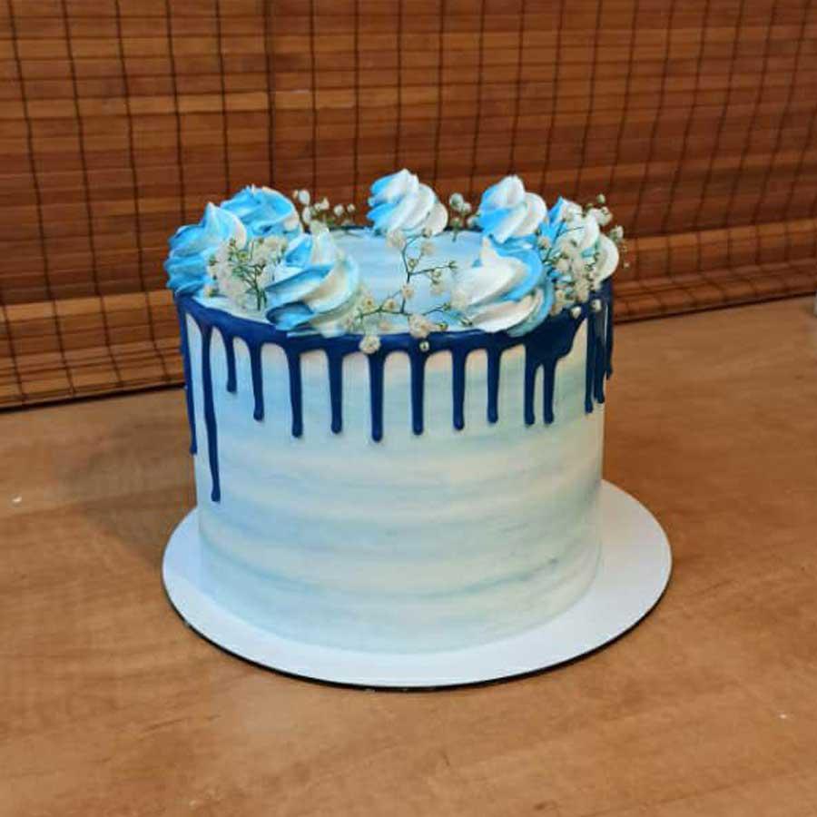 کیک آبرنگی آبی