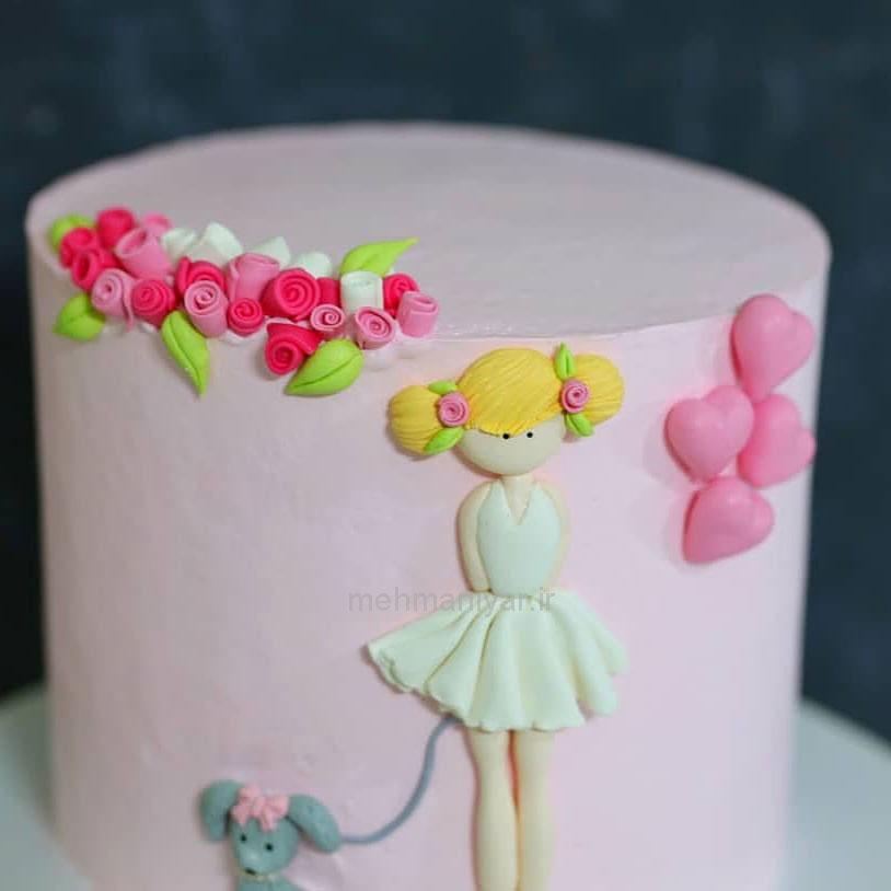 کیک دخترانه مو طلایی